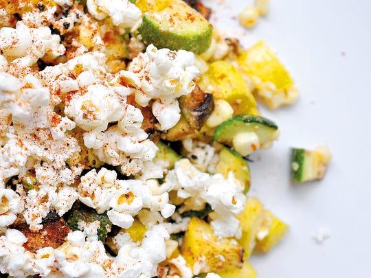 Charred Summer Salad includes fresh corn, zucchini and popcorn.