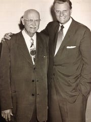 Evangelist Mordecai Ham and Billy Graham circa 1956.