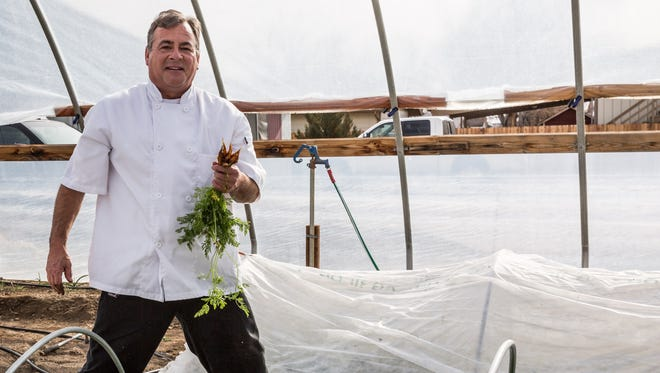 Steve Hernandez, chef-owner of the Slanted Porch in Fallon, grows produce for his restaurant year-round in hoop houses.