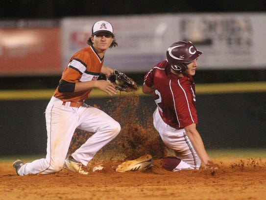 Chiles' Ben Anderson steals second during a Region