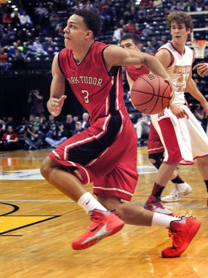 Park Tudor junior Bryce Moore had 18 points in the Panthers' Class AA IHSAA boys basketball state title game at Bankers Life Fieldhouse in Indianapolis on Saturday, March 29, 2014. Park Tudor beat Westview 84-57.