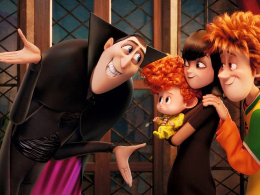 "From left, Dracula (voiced by Adam Sandler), Dennis (Asher Blinkoff), Mavis (Selena Gomez) and Jonathan (Andy Samberg) make up a mostly happy human-and-monster blended family in ""Hotel Transylvania 2."""
