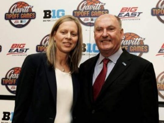 Big East commish Val Ackerman and Big Ten boss Jim Delany