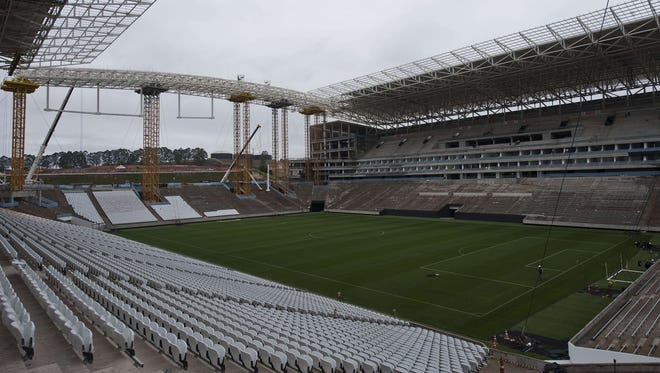Partial view of the construction site of Itaquerao football stadium which will host the opening football match of the Brazil 2014 FIFA World Cup, in Sao Paulo.