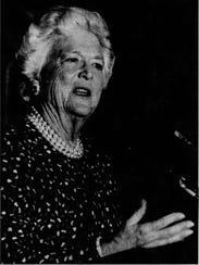 Barbara Bush makes her first speech after leaving the