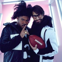 Jordan Peele (left) and Keegan-Michael Key will play aspiring sportscasters Morris and Lee in live Squarespace commentary on the Big Game.