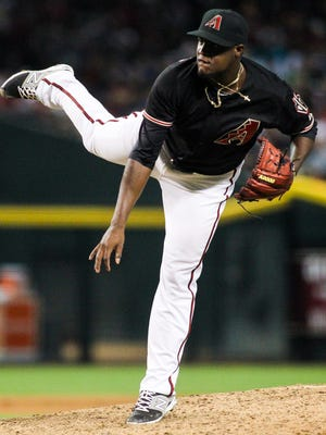 Arizona Diamondbacks starter Rubby De La Rosa pitches in the fifth inning at Chase Field in Phoenix on Saturday, July 25, 2015.
