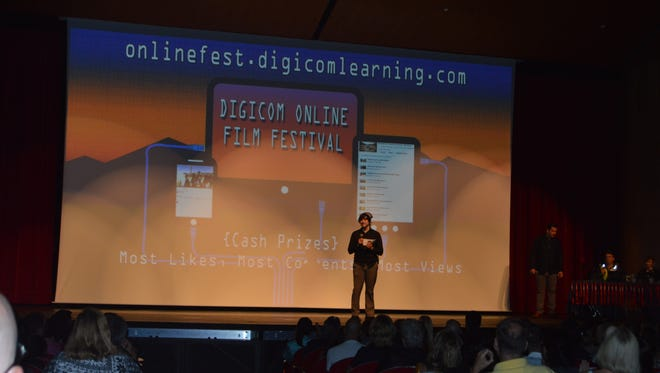DIGICOM Head of Technology Tim Lentz welcomes attendees to DIGICOM X High School Film Festival last spring.