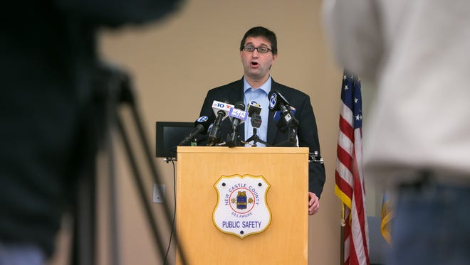 New Castle County Executive Matt Meyer speaks at a press conference on Feb. 20. Meyer will hold a Facebook Live town hall at 4 p.m. on Thursday.