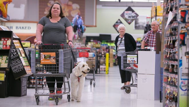 Diann Jones shops at Acme in Middletown with her service dog, a Goldendoodle named Yadier.