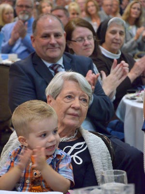 Patt Kirksey and her great-grandson Asher Wendt in 2016.