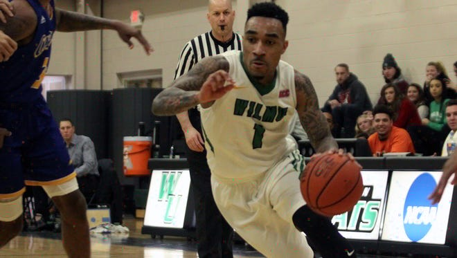 Tyaire Ponzo-Meek drives to the basket during a Wilmington University game this season.
