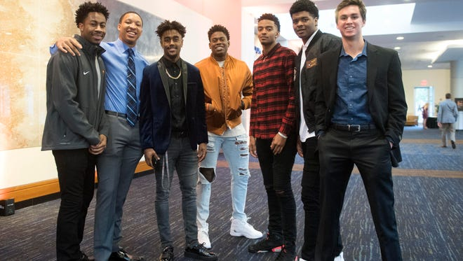 University of Tennessee basketball athletes, from left, Jordan Bowden, Grant Williams, Jordan Bone, Admiral Schofield, Jalen Johnson, Derrick Walker, and Jacob Fleschman at the Volscars on Monday, April 16, 2018.