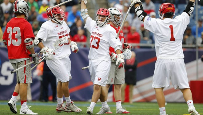 Maryland midfielder Adam DiMillo celebrates his goal against Ohio State during the national championship game at Gillette Stadium.