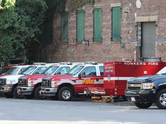 Yonkers fire department vehicles are pictured in the