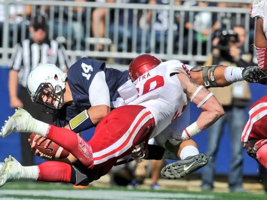 Christian Hackenberg dives in for his second rushing touchdown of the game in the fourth quarter Saturday.