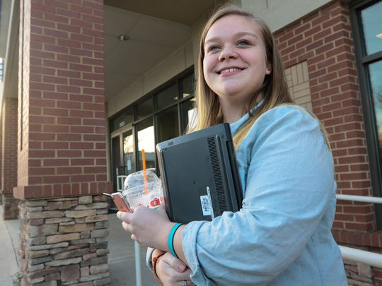 Stefany Hooper of Anderson uses a Chromebook, for many of her freshman year classes at Westside High School in Anderson.