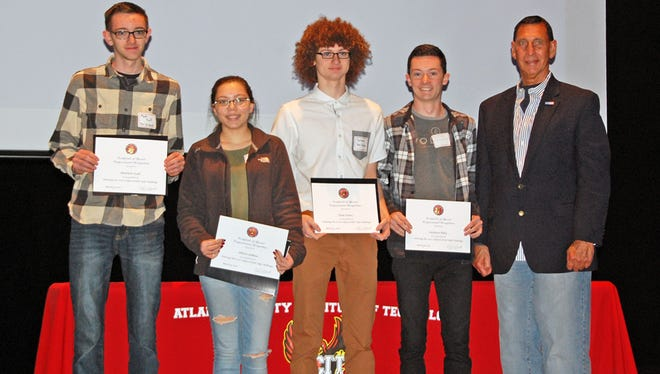 (From left) Matthew Scull, Allison Jenkins, Paul Kuntz and Zachary Riley, students at Cumberland Regional High School, were recognized by Rep. Frank LoBiondo as 2015 Congressional App Challenge winners for New Jersey's 2nd Congressional District.