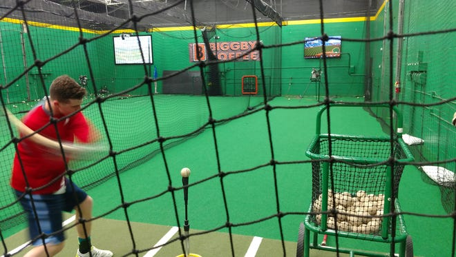 Players can hit the batting cages at The Baseball Lab in Novi.
