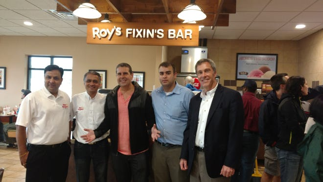 "Pictured at the grand opening of the Roy Rogers in Edison from left to right are franchisees Ashwin Prajapati and Dipen Desai, Z-100's Skeery Jones from ""Elvis Duran and the Morning Show,"" Operations Consultant Ben Perez-Ringus, Roy Rogers co-owner Jim Plamondon."