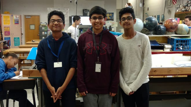 A team of three eighth-grade students from North Brunswick's Linwood Middle School (left to right) Jatin Chirra, Ronit Nagar and Kushaan Jain were notified in mid-April that their submission won a $5,000 cash prize in the 2017 Lockheed Martin Video Challenge.
