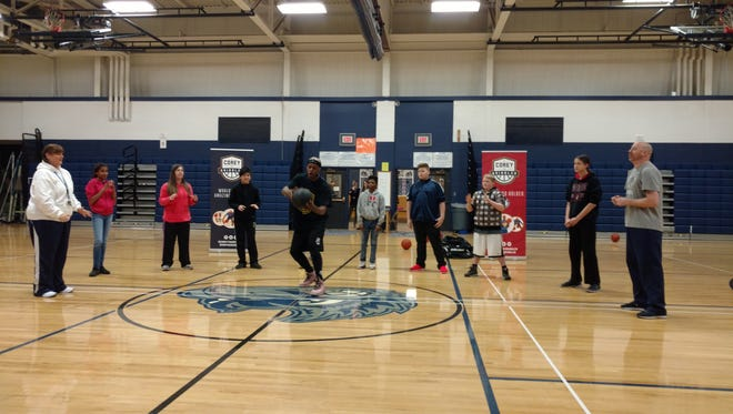 Corey the Dribbler visited Maplewood Middle School in April. He is a four-time Guinness record holder traveling the country inspiring students with the character message R.E.A.D. - Respect, Education, Attitude/Activity and Don't Bully or Do Drugs.