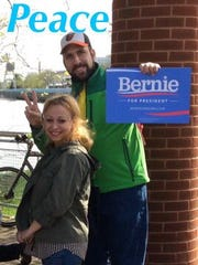 Rose Izzo poses with a supporter of presidential candidate Bernie Sanders in this photo she sent to The News Journal.