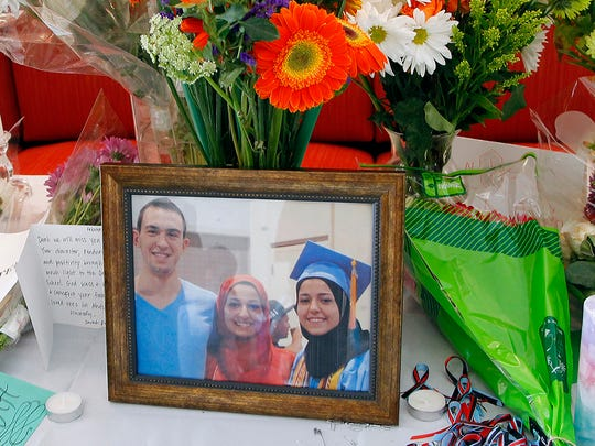A makeshift memorial appears on display, Wednesday,