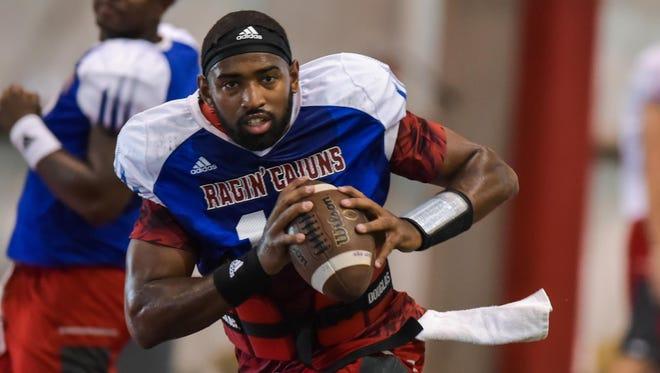 Cajuns quarterback Anthony Jennings on the practice field.