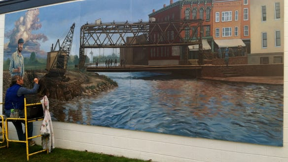 Erie Canal mural in Brockport