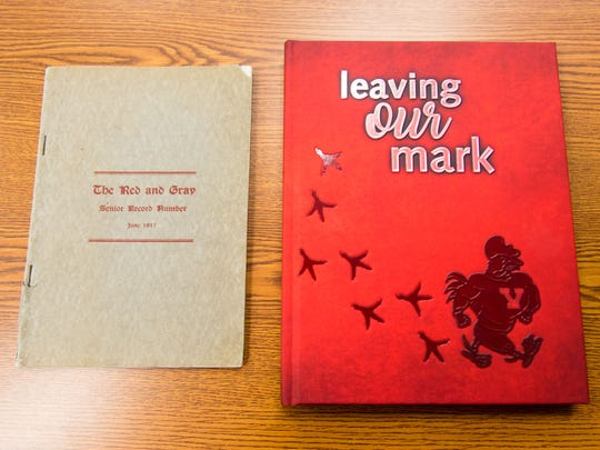 Vineland High School's original 1917 yearbook 'The Red and Gray Senior Record Number' and 2017's 'The Record - Leaving Our Mark.'