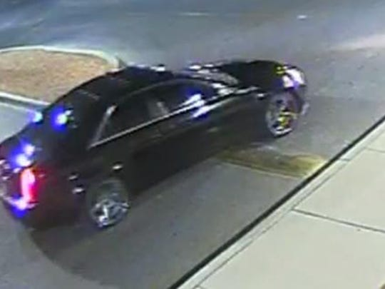 The two robbers fled in this black Cadillac after a Feb. 27 robbery attempt at an ATM in West El Paso.
