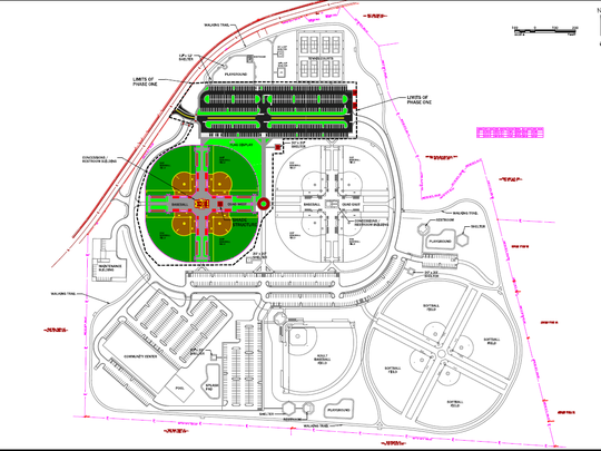 This master plan shows short-term and longer-term plans for Cedar Stone Community Park on 80 acres on Morton Lane. Phase 1 is expected to be complete by fall 2019 with four youth baseball and fast-pitch softball fields, a concession stand building with restrooms, parking and LED lighting for the fields.  Although the master plan shows 13 baseball fields,  the property has limitations and can only support adding five more for a total of nine, said Mike Moss, director of Smyrna Parks and Recreation.