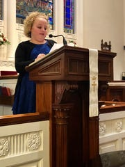 Mya Young, a third-grader at Guilford Hills Elementary School, reads her essay at the 39th Annual Martin Luther King Jr. Memorial Service on Sunday, Jan. 14 at the Central Presbyterian Church in Chambersburg. Young was one of several students from the Chambersburg Area School District who was chosen to share what they wrote on a variety of topics related to King.