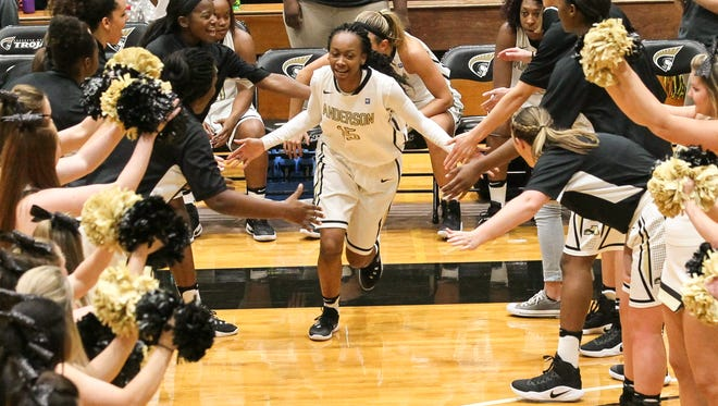 Anderson University forward Jasmine Franklin is introduced before the home opener with Erskine.