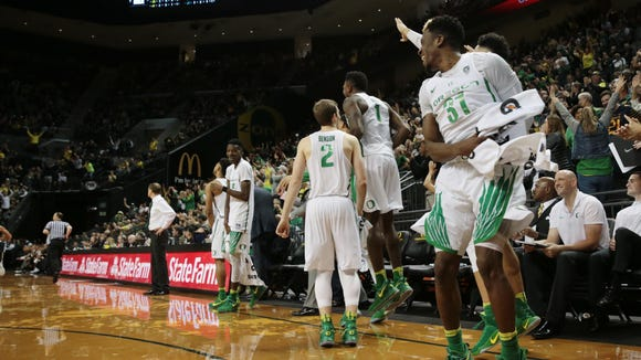Feb 18, 2017; Eugene, OR, USA; Oregon Ducks bench celebrates in the last few minutes of the game against the Colorado Buffaloes at Matthew Knight Arena. Mandatory Credit: Scott Olmos-USA TODAY Sports