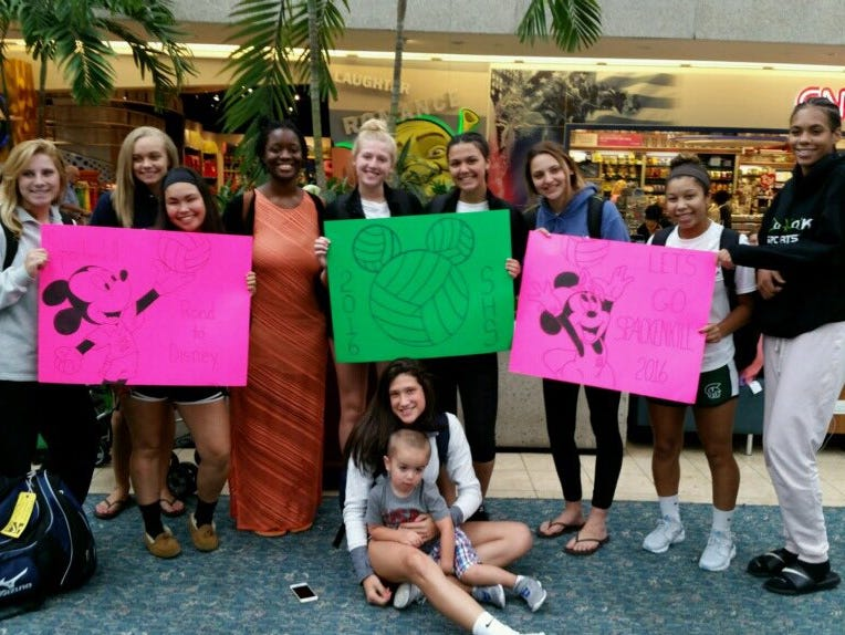 The Spackenkill High School volleyball team poses on its way to a tournament in Disney World.