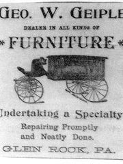 Advertisement for Geo. W. Geiple Furniture (Jim McClure's blog)submitted