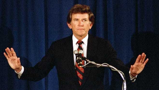 A front-runner for the 1988 Democratic presidential nomination, an extramarital affair led to Gary Hart's downfall.