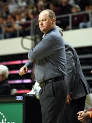 Head coach Greg Woodard gives a look of frustration during John Glenn's 36-31 loss to Meadowbrook last season in a Division II regional final at The Convocation Center. Woodard's resigned recently as the Muskingum Valley League's most successful coaches.