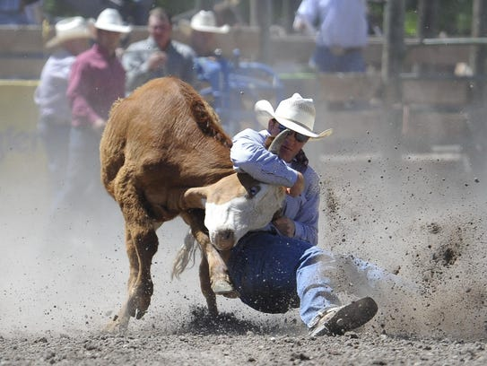 Ross Mosher of Augusta competes in steer wrestling