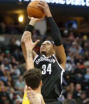 Paul Pierce (34) scored a game-high 18 points for the Nets.