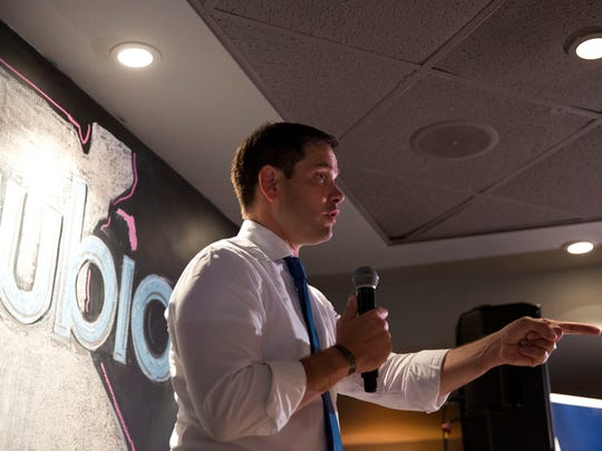 Junior United States Senator Marco Rubio speaks during a campaign rally held at 7th Avenue Social to encourage Republican citizens of Collier and Lee County to vote as early as possible Thursday, October 27, 2016 in Naples.
