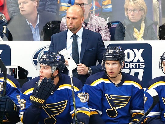 St. Louis Blues head coach Mike Yeo watches the action