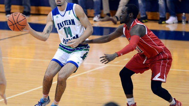 Eli Abaev, left, finishes his career with Eastern Florida State College with 606 rebounds.