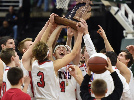 Powers North Central celebrates its state title over