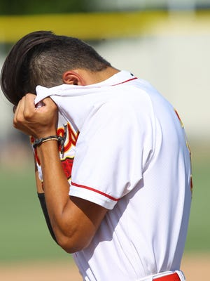Palm Desert High School's Izayah Alvarez reacts to a tough loss at home 1-0 against Woodbridge at home during their CIF game at Palm Desert.