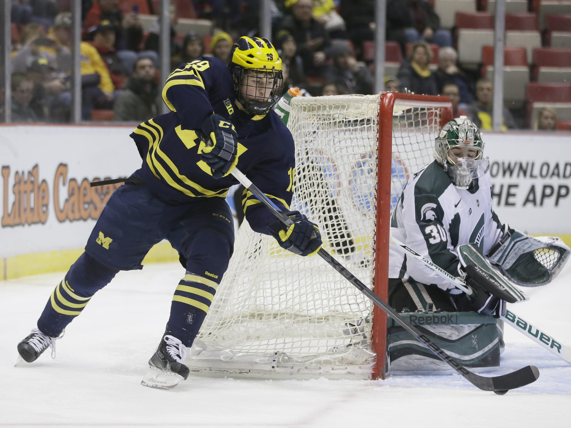 In one season at Michigan, Larkin put up 15 goals and