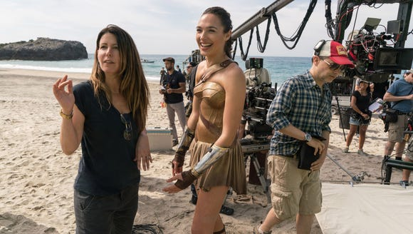 Patty Jenkins (left) directs Gal Gadot on the set of