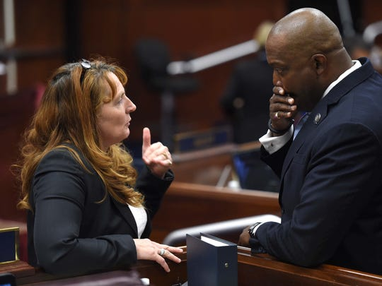 Nevada Assembly Speaker Marilyn Kirkpatrick, left, and  Assembly Majrity Leader William Horne chat prior to the opening of Wednesday's special session.